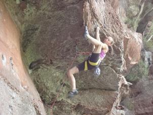Julie Lead Climbing