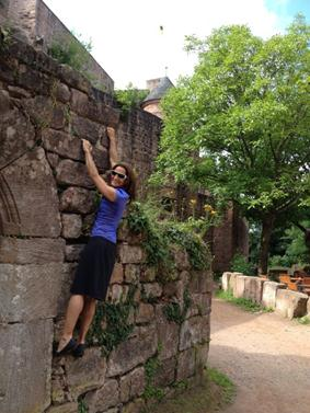 What's a visit to an old castle without some classic rock scaling?