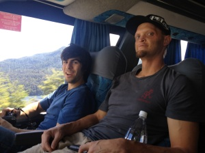 Nick and Jon enjoying the bus ride