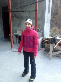 Audrey Sniezek ready to Ice Climb
