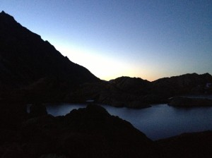 Sunrise behind Ingalls Lake
