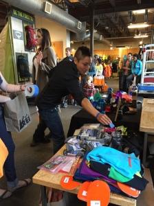 Raffle items from companies like Darn Tough Vermont Socks, La Sportiva, Blurr Stuff, Studbar Pullup bar, Elete Electrolytes, LEKI, LUCY, and more